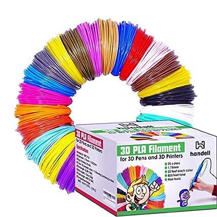 3d Pen Filament Refills - PLA filament 1.75mm   25 Colors, 20 Solid Colors + 5 Fluorescent / Transparent, 33ft Each, 825 Feet Total