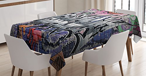 Rustic Home Decor Tablecloth by Ambesonne, Graffiti Grunge Art Wall Several Creepy Underground City Paint , Dining Room Kitchen Rectangular Table Cover, 52 W X 70 L Inches, Multi