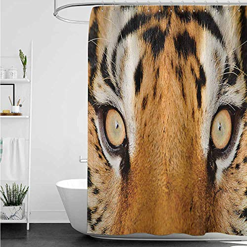 (home1love Kids Bathroom Shower Curtain,Safari Close-up Tiger Eyes Hunter Look Feline Camouflage Coat Animal with Shady Colors,Waterproof Colorful Funny,W48x72L,Orange Black)