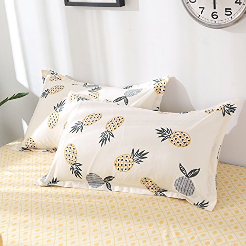 Tropical Pineapple, White and Yellow, Twin 60x80 3pcs White Yellow Fruit Design Duvet Cover,2 Pillow Cases.Without Comforter KFZ Pineapple Print Bedding Set Duvet Cover Set /…