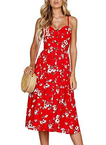 Shirred Zebra - Hanglin Trade Women's Summer Floral Printed Spaghetti Strap Button Down Pockets Swing Midi Dress(Red Small)