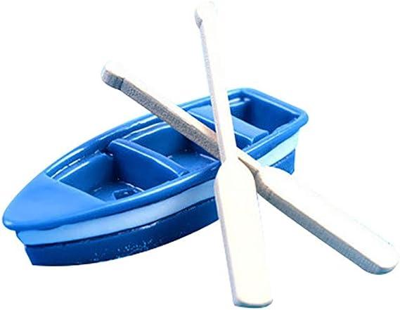 2pcs Wooden Paddle Miniature Fairy Garden Figurine Decor DIY 1Pc Plastic Boat