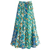 "Women's Waves Of Blue Broom Maxi Skirt - Elastic Waist - 35"" Long - Xl"