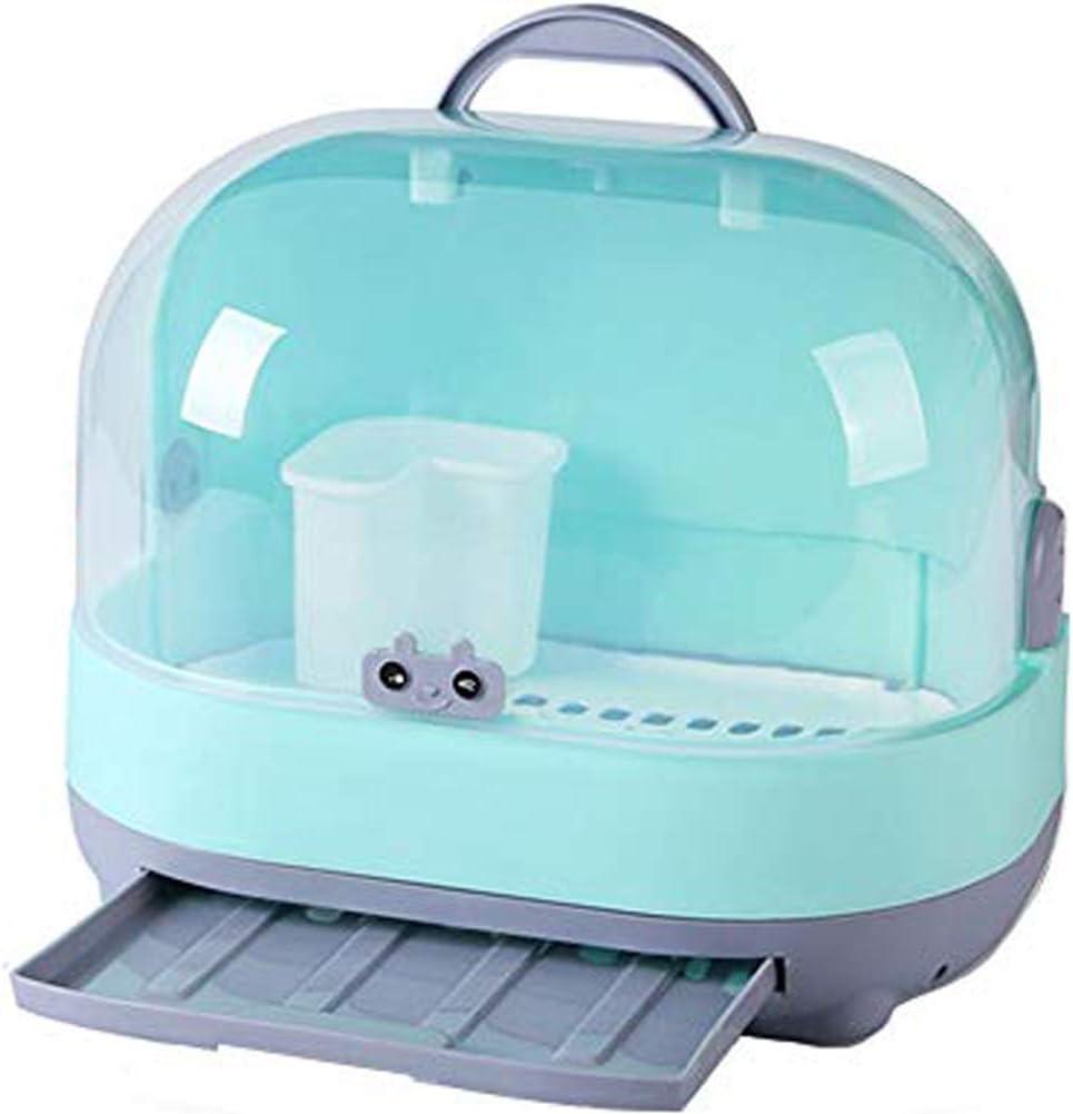 MOCOHANA Portable Baby Bottle Drying Rack with Dustproof Cover Nursing Bottles Storage Box Dinnerware Organizer (Green)
