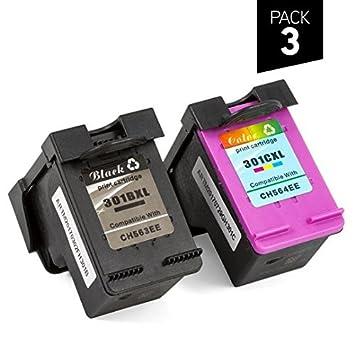 Tonereo - HP 301XL / 301 XL - Pack de 3 cartuchos genéricos HP ...