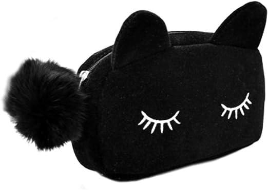 CAOLATOR Cute Peluche Dibujos Animados Pen Estuche Maquillaje Bolsa Monedero Cartera Estilo de Gato(Negro): Amazon.es: Hogar