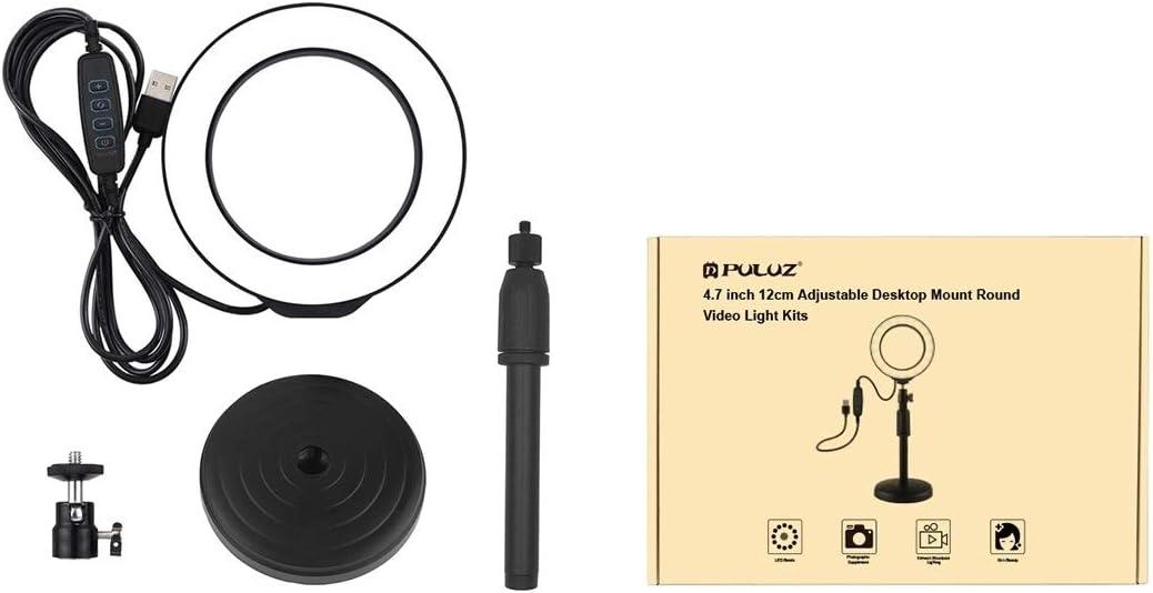 18cm-28cm HUIFANGBU Round Base Desktop Mount for LED Ring Video Light Adjustable Height
