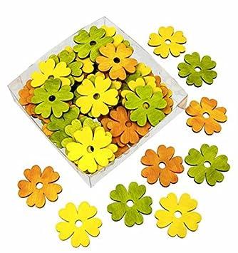 72 Stk Holzblumen 4cm Stg Mix Orange Gelb Grun Streudeko Tischdeko