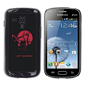 Happy Halloween Bat - Metal de aluminio y de plástico duro Caja del teléfono - Negro Samsung Galaxy S Duos / S7562
