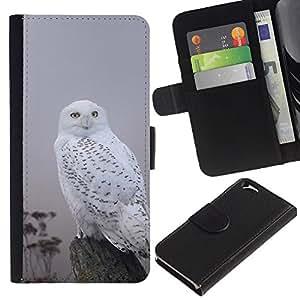iKiki Tech / Cartera Funda Carcasa - White Black Gray Nature Bird - Apple iPhone 6