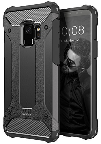 Galaxy S9 Case, Aeska [Dual Layer] Heavy Duty Drop Protection Armor Hybrid Defender Shockproof Protective Case Cover For Samsung Galaxy S9