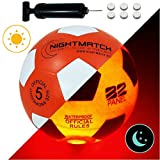 NightMatch Light Up Soccer Ball Flaming Red Edition INCL BALL PUMP and SPARE BATTERIES - Inside LED lights up when kicked - Glow in the Dark Soccer Ball - Size 5 - Official Size & Weight -orange/white