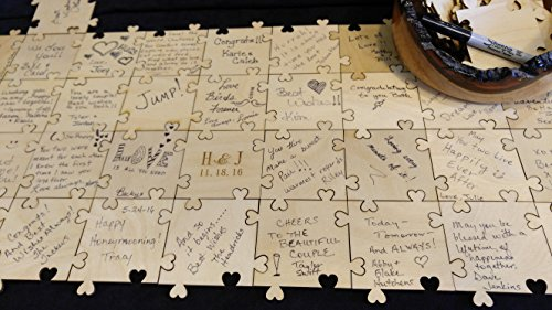 Sweetheart Guest Book - Sweetheart Puzzle Wooden Signing Guest Book (50 piece)