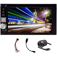 Free HD rear camera included Universal Double Din In-Dash car DVD player stereo radio 6.2-inch digital Touch screen built-in Bluetooth MP4/MP3 AM FM Radio Receiver USB SD Aux Input with remote control