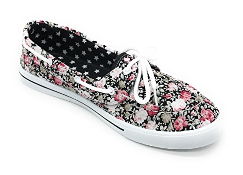 On Flat Blue Lace Canvas Prt Comfy Boat Shoe Berry Tennis Black Sneaker up Slip Rose Round Toe EASY21 nXq0FrwX