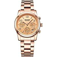 Women's Rose Gold Stainless Steel Chronograph Quartz Wrist Watches 24-Hour Waterproof Stopwatch for Lady