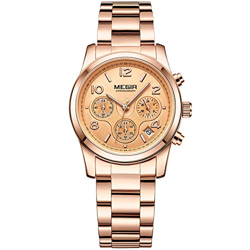 Ladies Stainless Steel Chronograph - Women's Rose Gold Stainless Steel Chronograph Quartz Wrist Watches 24-Hour Waterproof Stopwatch for Lady