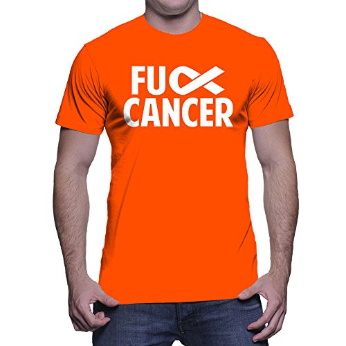 HAASE UNLIMITED Men's Fuck Cancer T-Shirt (Orange, X-Large)