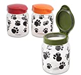 Paw Print Treat Container for Dogs or Cats 32oz Snap Lid 1 Container with Randomly Picked Lid Color