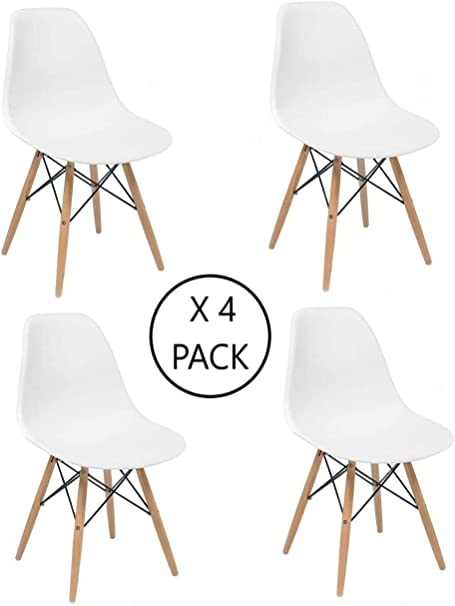 Home Heavenly - Pack 4 sillas Comedor salón NÓRDICA, Blanca con ...