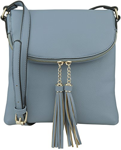 B BRENTANO Vegan Medium Flap-Over Crossbody Handbag with Tassel Accents (Denim Blue) ()