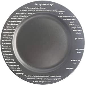 Generic - Plato de cerámica con diseño de alfabeto, negro ...