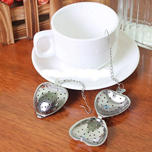 Funnytoday365 Heart Shaped Tea Infuser Spoon Strainer Stainless Steel Steeper Handle Shower