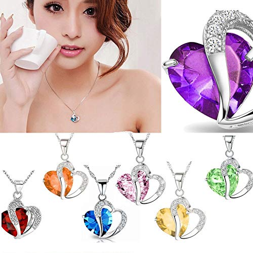 WEUIE Love Heart Necklace Charm Pendant with Crystals Rhinestone Jewelry Gifts for Women Girl