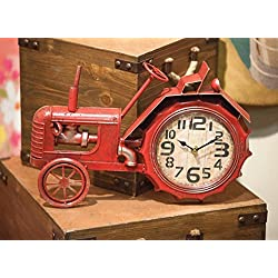 ArtFuzz Tractor Table Clock Red 16X2.25X11.75