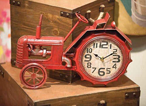 (Manual Woodworkers ArtFuzz Tractor Table Clock Red 16X2.25X11.75)