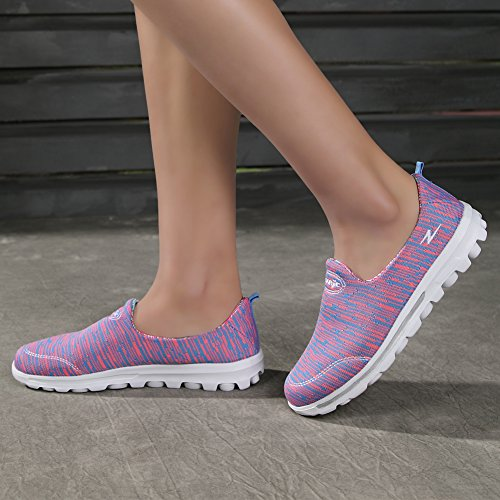 a5beef5eb9b cheap KUIBU Women Lightweight Sports Breathable Lace Slip-On Platform  Toning Shoes Fly weave Low