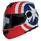 TORC Unisex-Adult Style Full Face Modular Motorcycle Helmet Integrated Blinc Bluetooth With Graphic (Rebel Star) (Flat White