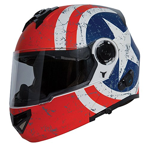 TORC T27B Full Face Modular Motorcycle Helmet Integrated Blinc Bluetooth With Graphic (Rebel Star)