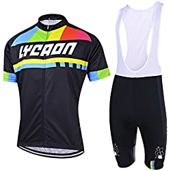 LYCAON Cycling Suit, Breathable, 3D Gel Padded, Short Sleeve, Bicycle Bike Jersey & Bib Shorts Set (XL, Black)