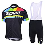 xl cycling jersey - LYCAON Cycling Suit, Breathable, 3D Gel Padded, Short Sleeve, Bicycle Bike Jersey & Bib Shorts Set (XL, Black)