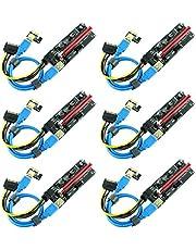 Ubit PCIE Riser 1 x till 16 x grafisk förlängning för Bitcoin GPU gruvdrivet stigningsadapterkort, 4 fasta kondensatorer, 60 cm USB 3.0-kabel, 2 x 6 PIN, Molex 3 strömalternativ (VER 009S, 6-pack)