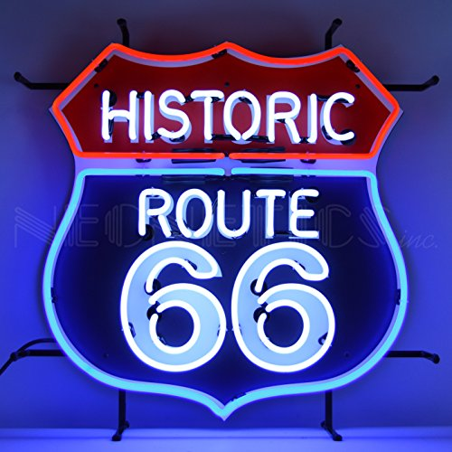 Neonetics 5RT66B Historic Route 66 Sign, Red, White/Blue Neon