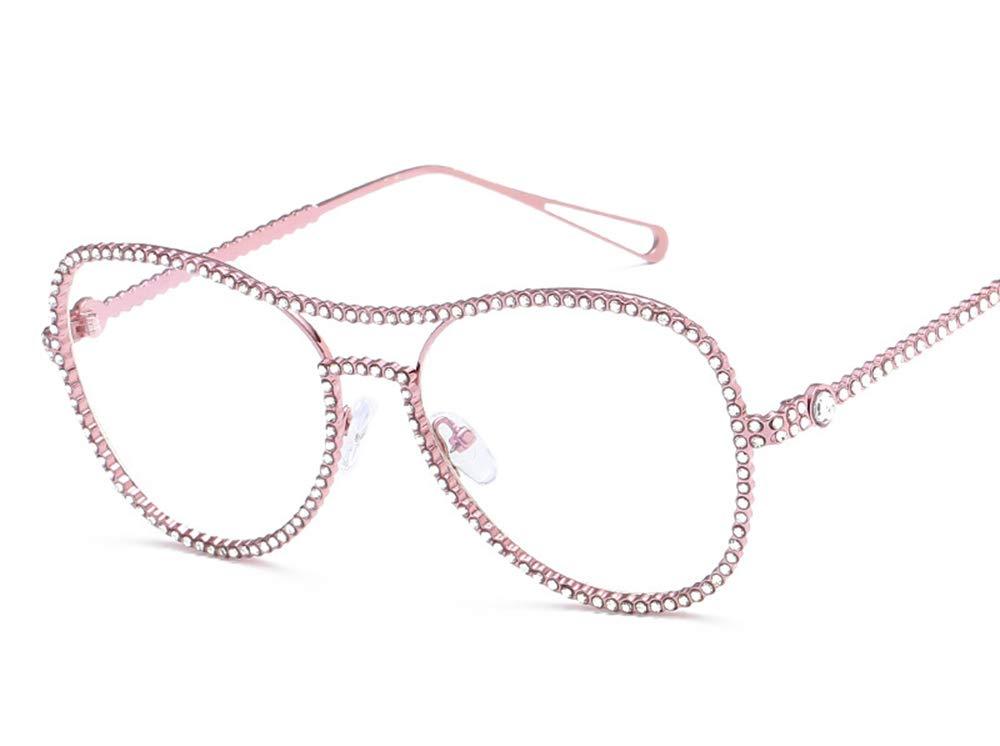 Oversized Clear Lens Rhinestone Eye Glasses Spectacles Women Vintage Sunglasses