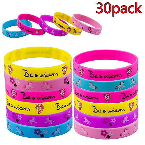 - Pack of 30 Unicorn Bracelets Wristbands Biggest Size7.9inch, for Birthday Party Supplies Favors, Novelty Toys and School Classroom Rewardsm