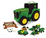 John Deere Durable Vehicle Toy Set for Kids with Tractor Shaped Portable Carry Case