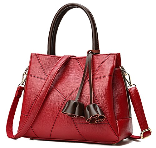 Tote Red Yan pocket Pendant Shoulder Show Bag PU Women's Litchi Crossbody Handbag Multi Splice Wine bag pattern an6w0aqBr