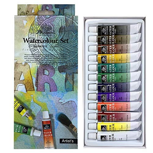 (PHOENIX Watercolor Paint Set of 12 Colors x 12 ml - Non-Toxic Paints in Tubes for Kids, Students, Beginners & Artists)