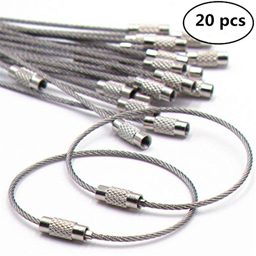 20pcs Stainless Steel Wire Keychains Aircraft Cable Cable Key Ring for Hanging ID Tags Or Luggage Tags,6.3 inch - Tag Frame Picture Luggage