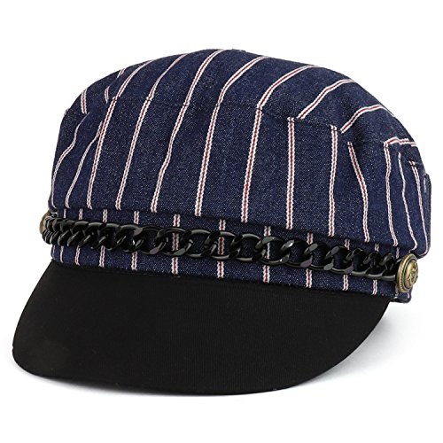 Trendy Apparel Shop Greek Sailor Fisherman Nautical Cabbie Hat with Chain Band - Navy -
