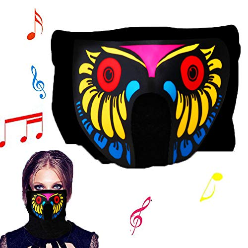 Sound Activated LED Light Up Mask,Halloween DJ Music LED Party Mask Yellow]()