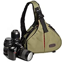 Caden Cross Bag Triangle Carry Case for DSLR Sony Canon Rebel Powershot, Nikon Coolpix,Kodah,Olympus,Pentax,Sony With 1 Camera 2 Lens Tripod( GREEN)
