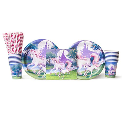 Unicorn Fantasy Party Supplies Pack for 16 Guests Includes: Straws, Dinner Plates, Luncheon Napkins, and Cups (Bundle for 16) (Fantasy Party Supplies)