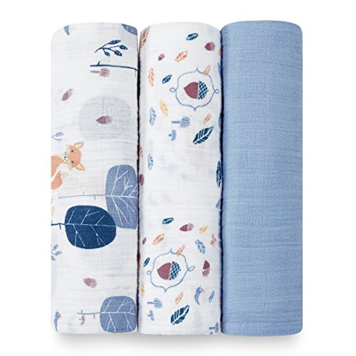aden + anais organic swaddle 3-pack, into the woods