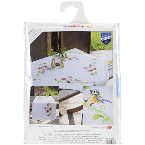 Vervaco Little Birds and Pansies Tablecloth Stamped Embroidery Kit, 32