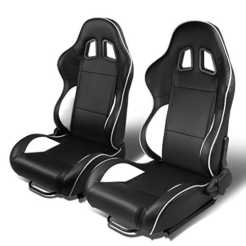 Set of 2 Universal Type-R PVC Leather Reclinable Racing Seats w/ Sliders (Black Body/White Line)